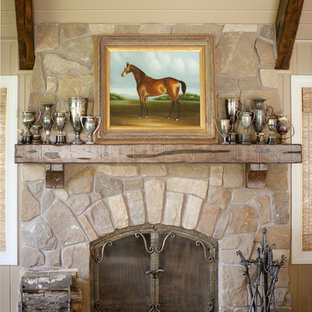Inspiration for a timeless family room remodel in Minneapolis with a stone fireplace