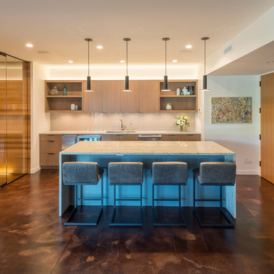 Large trendy open concept concrete floor and brown floor family room photo in Seattle with a bar, white walls and a tv stand