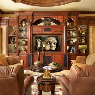 Photo of a medium sized mediterranean open plan family and games room in Miami with a home bar, beige walls, porcelain flooring, a built-in media unit, beige floors and no fireplace.