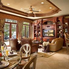 Mediterranean Family Room by Perla Lichi Design