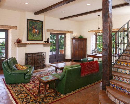 Example Of A Tuscan Terra Cotta Floor And Brown Floor Family Room Design In  Santa Part 88
