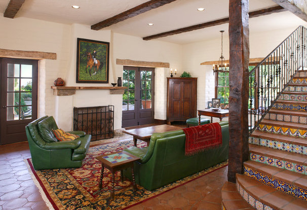 Mediterranean Family Room by Tom Meaney Architect, AIA