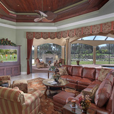 Mediterranean Family Room by Weber Design Group, Inc.