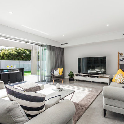Family room - contemporary open concept family room idea in Perth with white walls