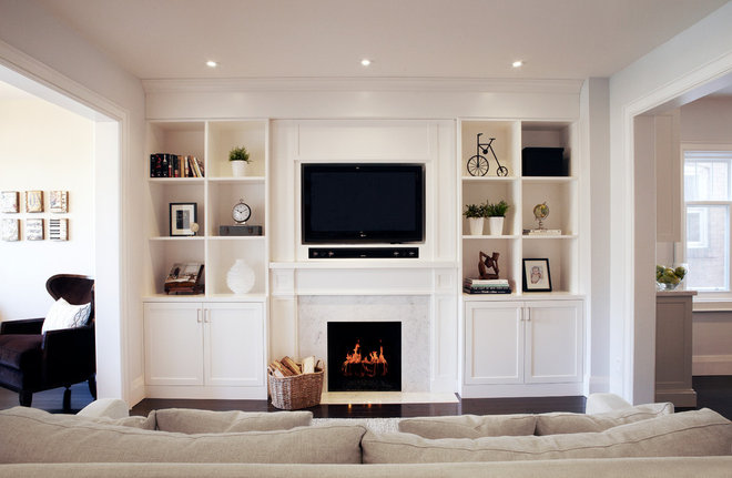 Transitional Family Room by Ali Budd Interiors