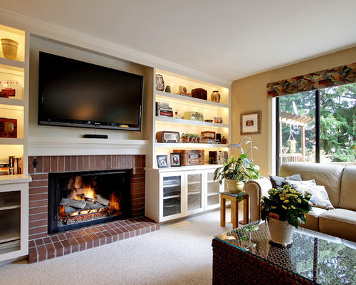 SaveEmail - Tan Living Room Houzz
