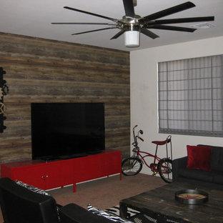 フェニックスの中サイズのインダストリアルスタイルのおしゃれなファミリールーム (マルチカラーの壁、カーペット敷き、据え置き型テレビ) の写真