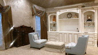 Metallic Plaster Wall & Antique Gilded Cabinets
