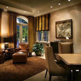Inspiration for a contemporary family room remodel in Miami with beige walls and no tv