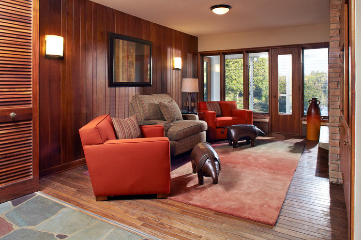 Midcentury Family Room by White Crane Construction