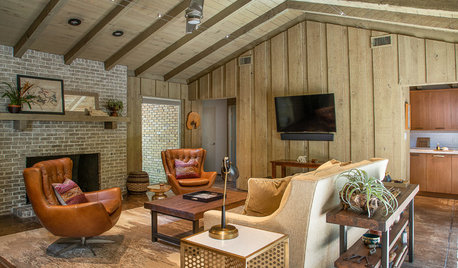 Midcentury Living Room and Kitchen Get a Stylish, Comfy Update