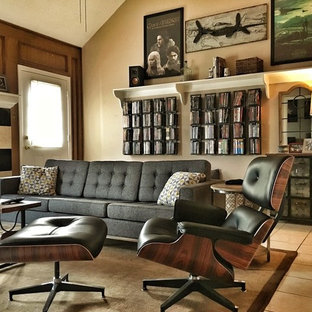 Mid century modern mix in family room with surround sound.