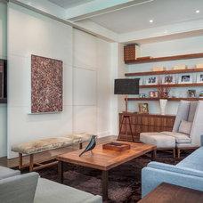 Transitional Family Room by Demetriades + Walker