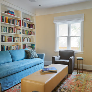 Arts And Crafts Family Room Photo In San Francisco With Yellow Walls