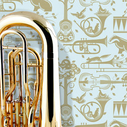 Marvellous Mini Moderns - A fun and vibrant wallpaper pattern featuring various musical instruments and animals such as chickens, squirrels and badgers.