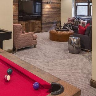 Huge transitional open concept carpeted game room photo in Minneapolis with beige walls and a wall-mounted tv
