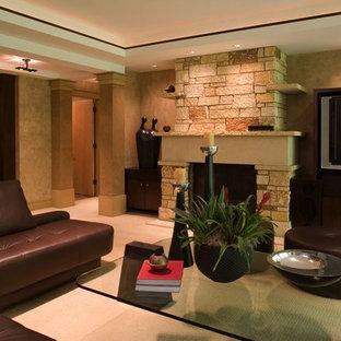 ミネアポリスの広いアジアンスタイルのおしゃれなオープンリビング (マルチカラーの壁、カーペット敷き、標準型暖炉、石材の暖炉まわり、埋込式メディアウォール、ベージュの床) の写真
