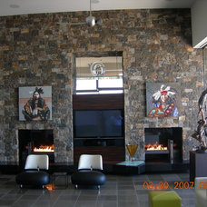 Contemporary Family Room by Specialty Fireplaces by Wayne Holsapple
