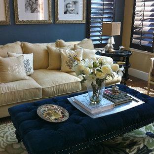 Diseño de sala de estar costera con paredes grises