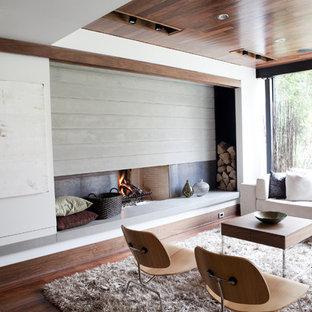 トロントのミッドセンチュリースタイルのおしゃれなファミリールーム (白い壁、標準型暖炉、金属の暖炉まわり) の写真