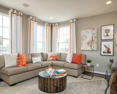 Example Of A Transitional Dark Wood Floor Family Room Design In Dc Metro With Beige Walls