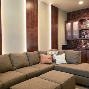 Family Room   Transitional Carpeted And Gray Floor Family Room Idea In  Austin With A Bar