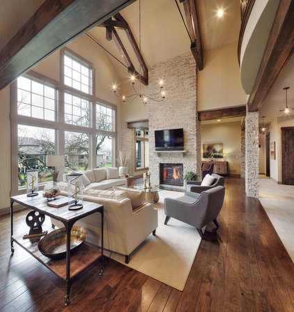 Rustic Family Room by Carpet Direct Kansas City