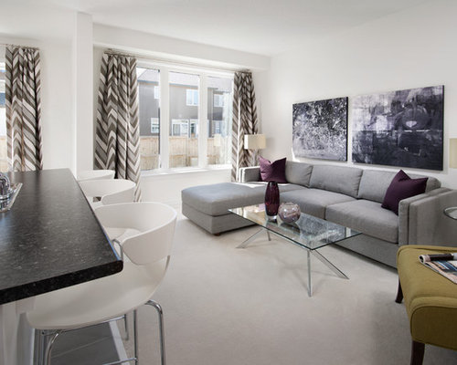 Inspiration For A Mid Sized Contemporary Open Concept Carpeted Family Room  Remodel In Ottawa With