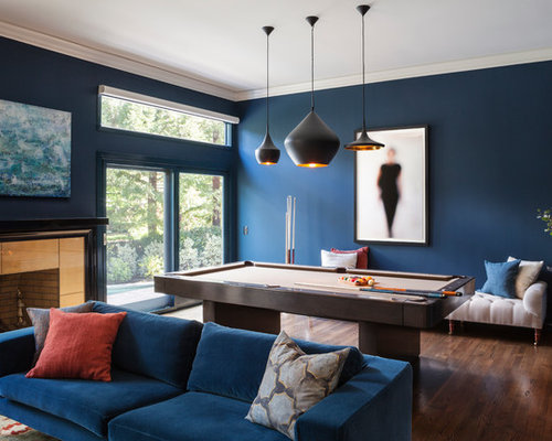 Inspiration For A Large Contemporary Dark Wood Floor Game Room Remodel In San Francisco With Blue