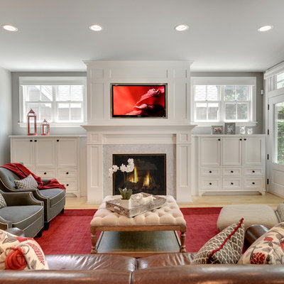 Elegant family room photo in Minneapolis with gray walls