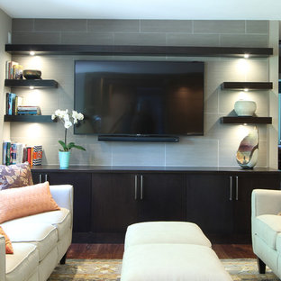 Modern Cherry Cabinets used in Family Room with Floating Shelves
