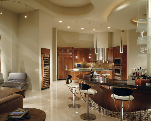 Inspiration For A Mid Sized Contemporary Open Concept Travertine Floor And  Beige Floor Family Room