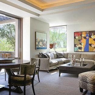 Trendy open concept family room photo in Orange County