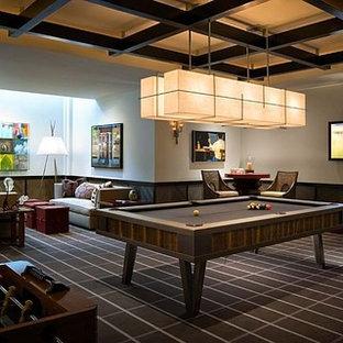 Foto di un soggiorno design con sala giochi