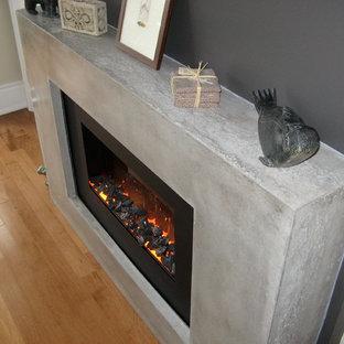 トロントの中サイズのモダンスタイルのおしゃれな独立型ファミリールーム (グレーの壁、淡色無垢フローリング、横長型暖炉、金属の暖炉まわり、壁掛け型テレビ、茶色い床) の写真