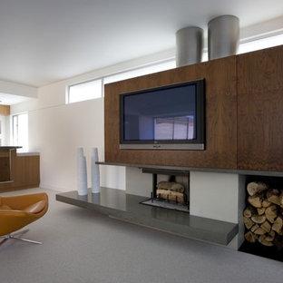 Diseño de sala de estar minimalista con marco de chimenea de hormigón