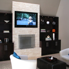 modern family room by Homework Remodels ~ Tri-Lite Builders