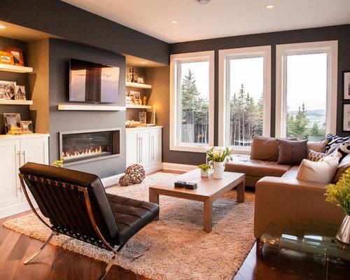 wohnzimmer mit braunem holzboden und schwarzer wandfarbe ideen design bilder houzz. Black Bedroom Furniture Sets. Home Design Ideas