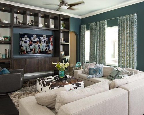 Example of a trendy family room design in Dallas with blue walls and a  built. Modern Family Room   Houzz