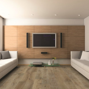 Mid-sized minimalist enclosed light wood floor family room photo in Hawaii with beige walls, no fireplace and a wall-mounted tv