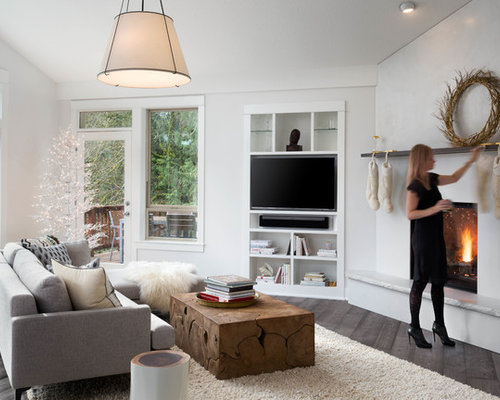 Inspiration For A Transitional Dark Wood Floor And Brown Floor Family Room  Remodel In Portland With