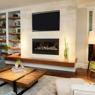 Mid-sized minimalist open concept dark wood floor family room photo in Raleigh with white walls, a standard fireplace, a tile fireplace and a media wall