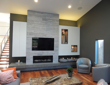 Modern Fireplace with Built in Cabinets