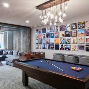Photo of a contemporary games room in Chicago with a game room, carpet, no fireplace and no tv.