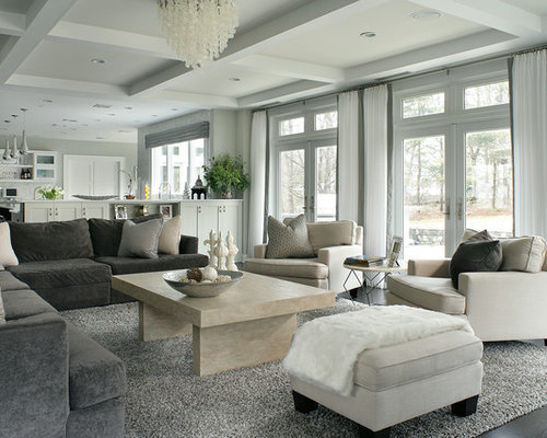 Inspiration For A Contemporary Open Concept Dark Wood Floor Family Room Remodel In New York With