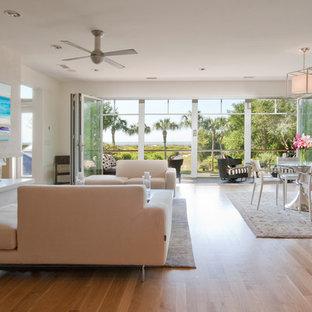 Modern Island Beach Home Living Room Nanawall And Fireplace