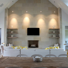 Transitional Family Room by Carrie Roby Interiors, LLC