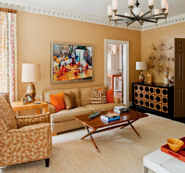 Transitional Family Room by Teri Thomas Interiors