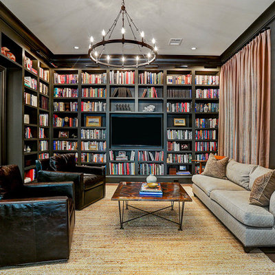 Inspiration for a transitional enclosed dark wood floor and brown floor family room library remodel in Houston with brown walls, no fireplace and a wall-mounted tv