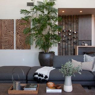Imagen de sala de estar con barra de bar abierta, contemporánea, grande, con paredes blancas, suelo de cemento, chimenea lineal, marco de chimenea de yeso, pared multimedia y suelo gris